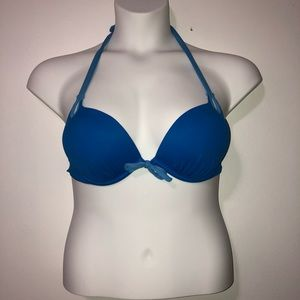 Victoria secret blue push up halter bikini top 34C